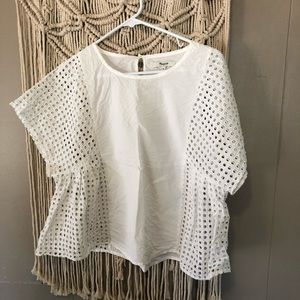 Madewell airy open grid blouse size medium